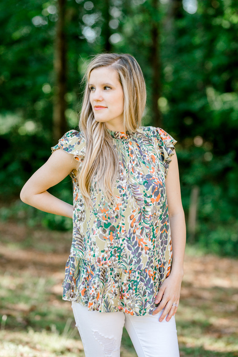 green printed tiered waist line top -  epiphany boutiques