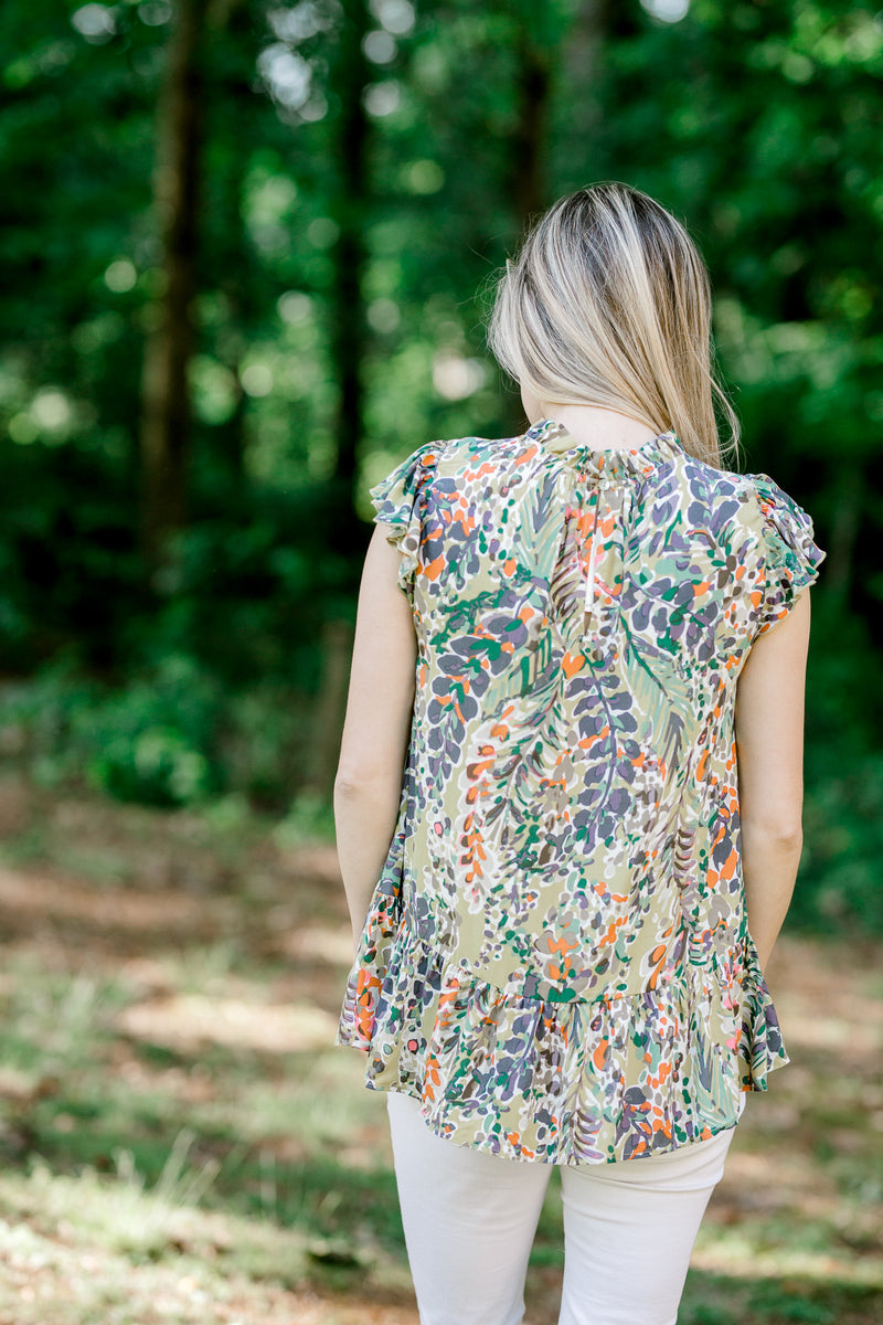 back view of green shirt with leaf print -  epiphany boutiques