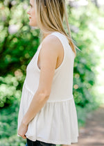 sleeveless tank in white -  epiphany boutiques