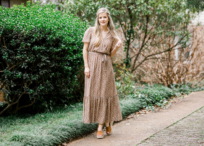 brown dress with floral maxi - epiphany boutiques
