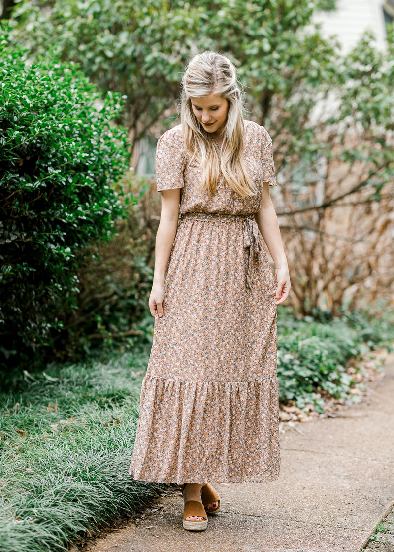 model in golden brown maxi - epiphany boutiques