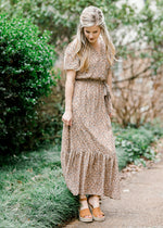 brown tiered maxi dress - epiphany boutiques