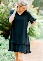black dress with ruffles - epiphany boutiques
