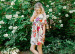 short sleeve dress with floral print -  epiphany boutiques