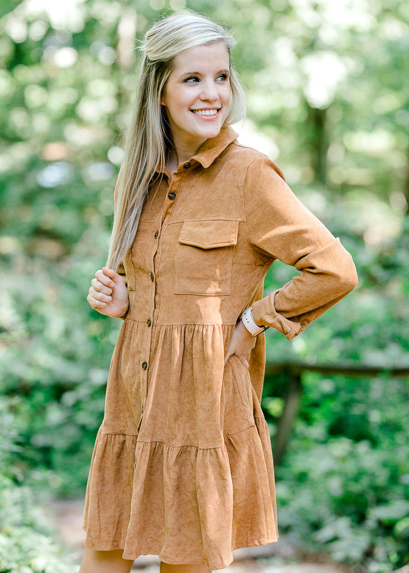 model wearing a corduroy dress in Sienna - epiphany boutiques