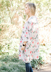 model in sky blue floral kimono - epiphany boutiques