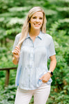 blue short sleeve top with collar - epiphany boutiques