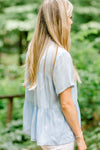 sky blue short sleeve top side view - epiphany boutiques