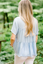 sky blue top with tiered levels - epiphany boutiques