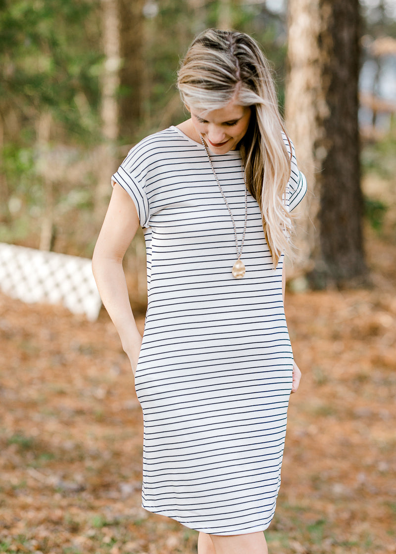 navy and white horizontal striped dress - epiphany boutiques