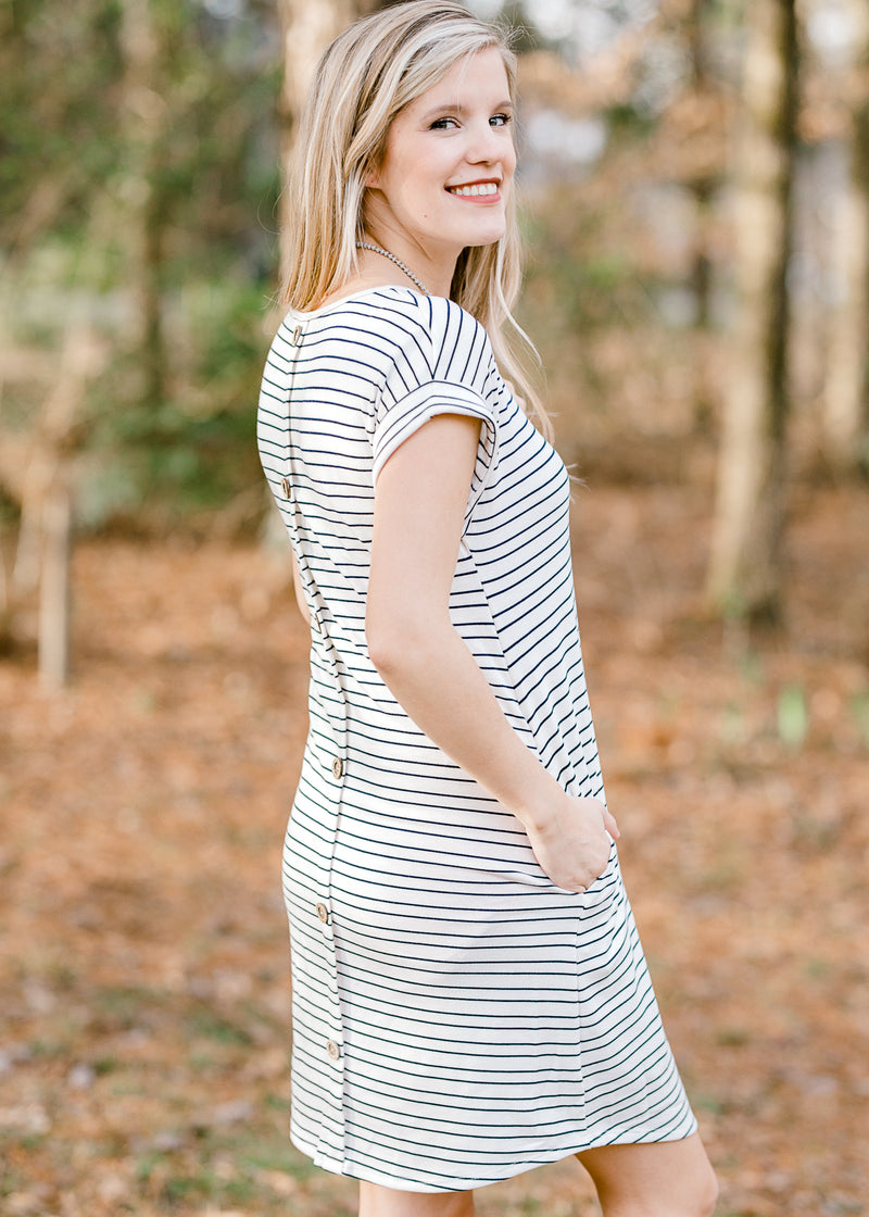 navy and white t shirt dress - epiphany boutiques