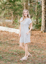 soft navy and white striped dress - epiphany boutiques