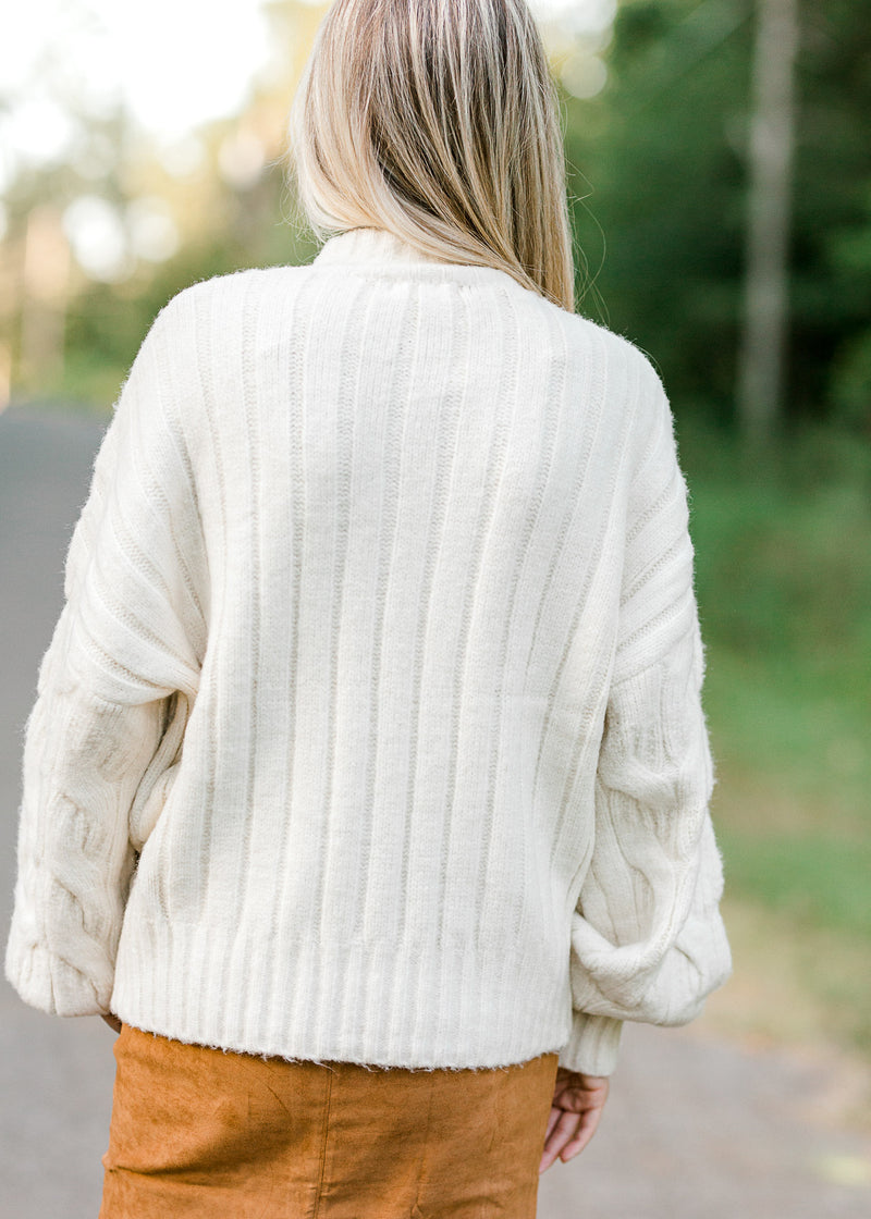cream sweater back view -  epiphany boutiques