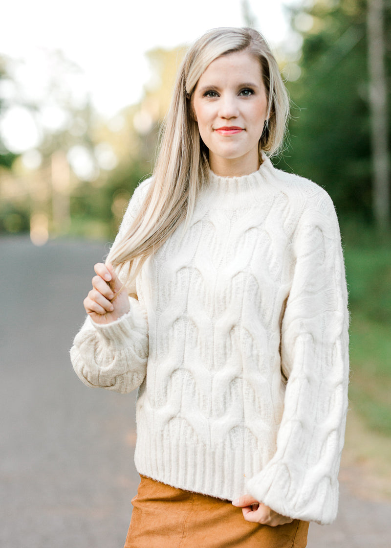 cream cable knit sweater -  epiphany boutiques