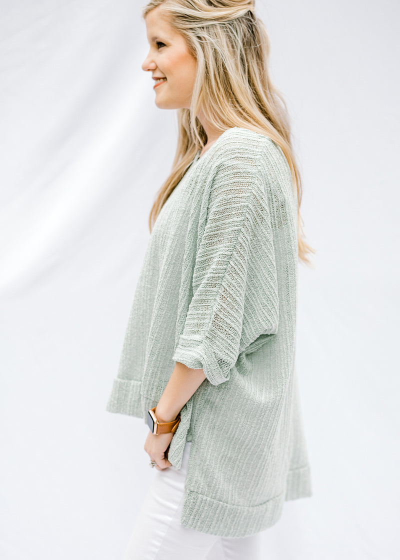 sage cuffed sleeve sweater - epiphany boutiques