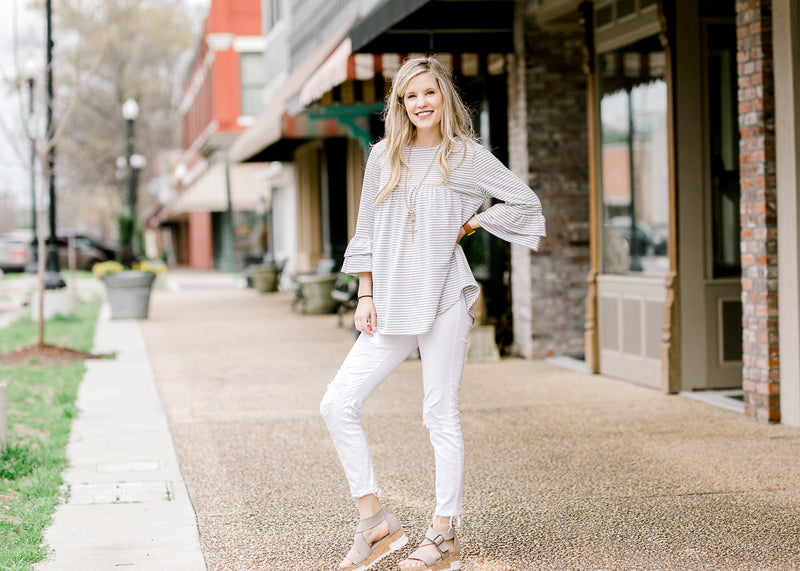 grey and white top with stripes - epiphany boutiques
