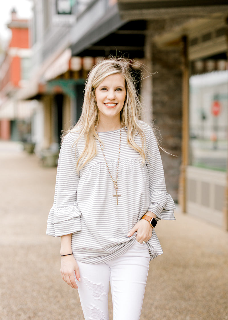 striped top with ruffled sleeves - epiphany boutiques