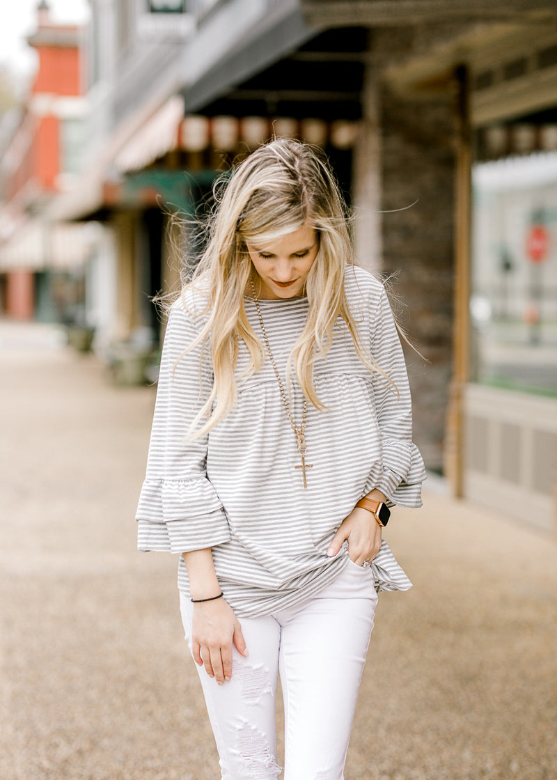 white and grey horizontal stripe top - epiphany boutiques