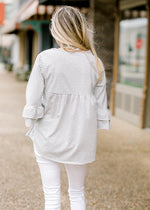 white and grey stripe top back view - epiphany boutiques