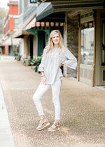 grey and white stripe top - epiphany boutiques