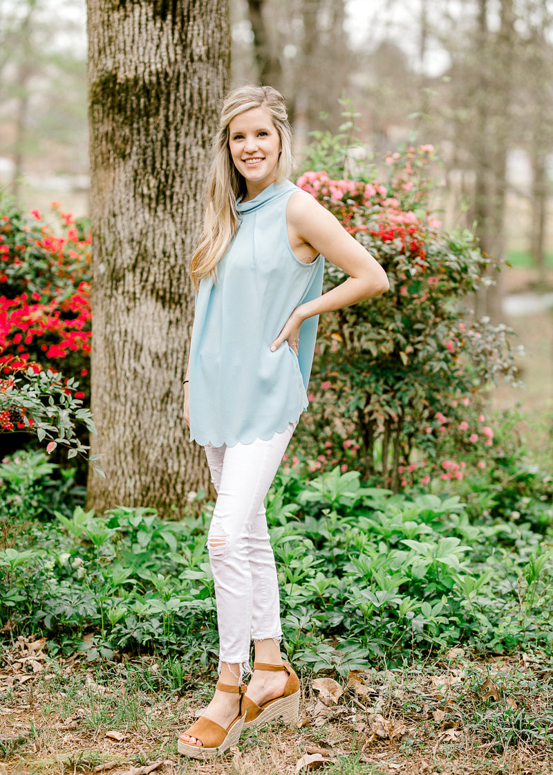 soft blue pleated top front view - epiphany boutiques