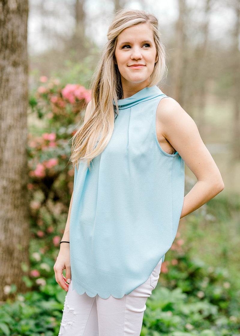 Soft Blue Pleated Top for the Bump