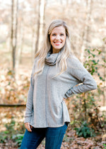 X The Soft Gray Cowl Neck