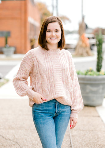 Blush Lace Sleeve Top