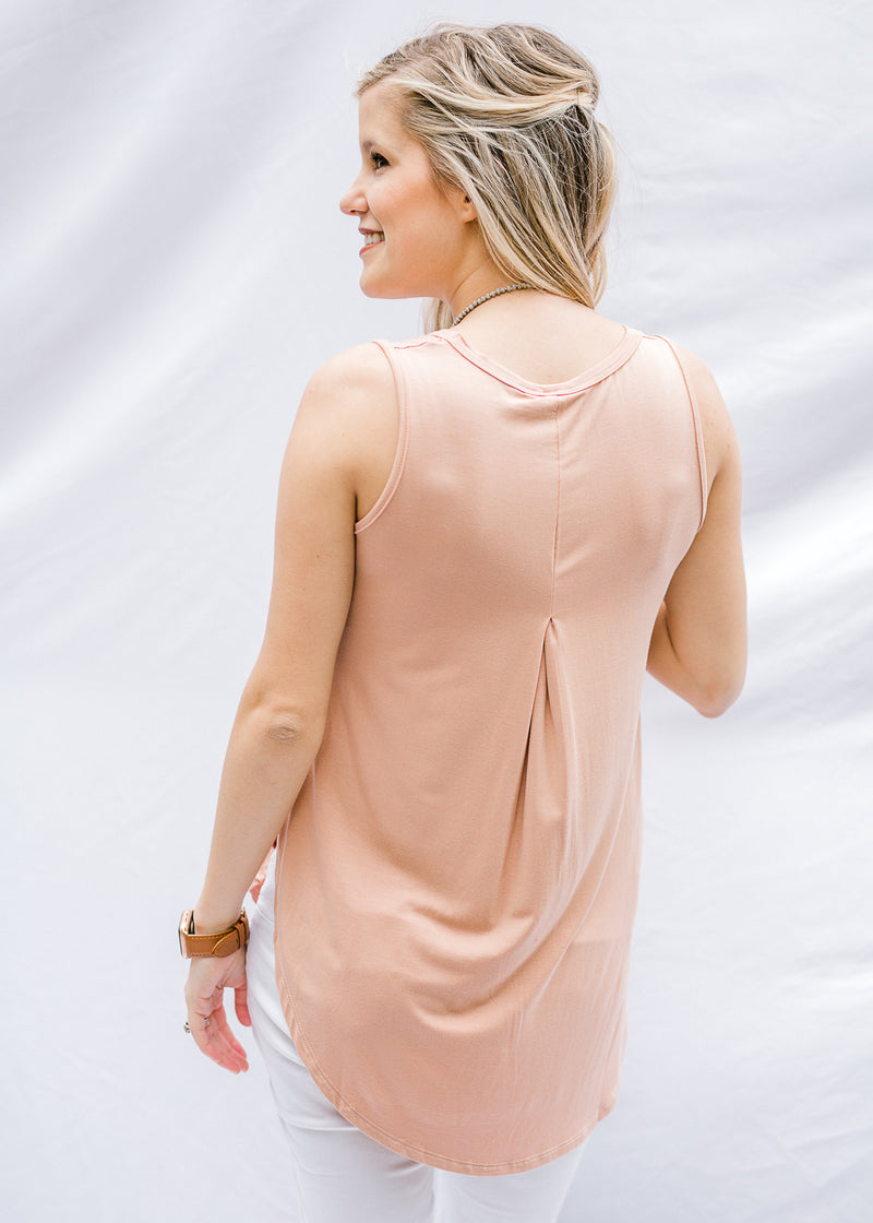 Soft Salmon Pleated Back Top
