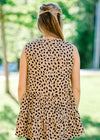 black and taupe printed top back view - epiphany boutiques