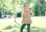 taupe top with black animal print detail - epiphany boutiques