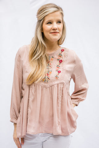 Spring Fling Embroidered Top in Blush