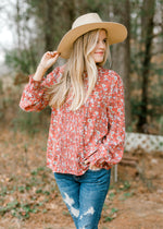 X Spring Showers Floral Pintuck Blouse