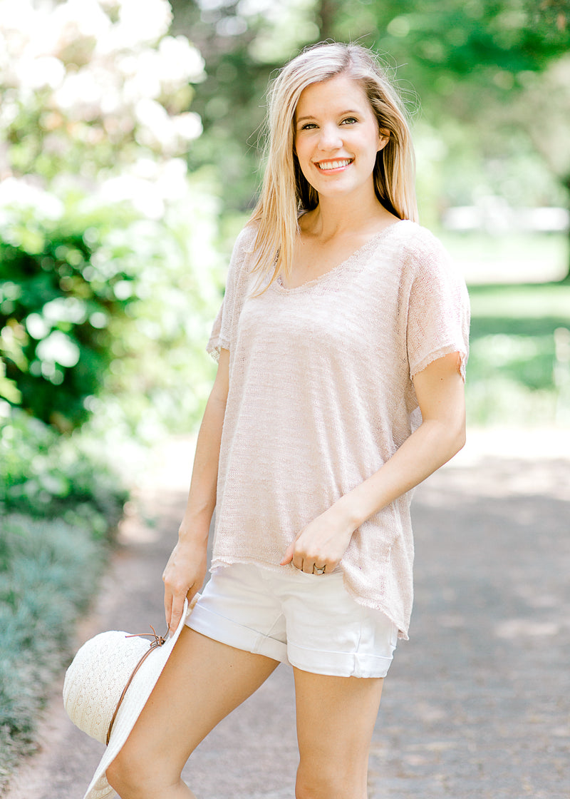 beige sweater short sleeve - epiphany boutiques