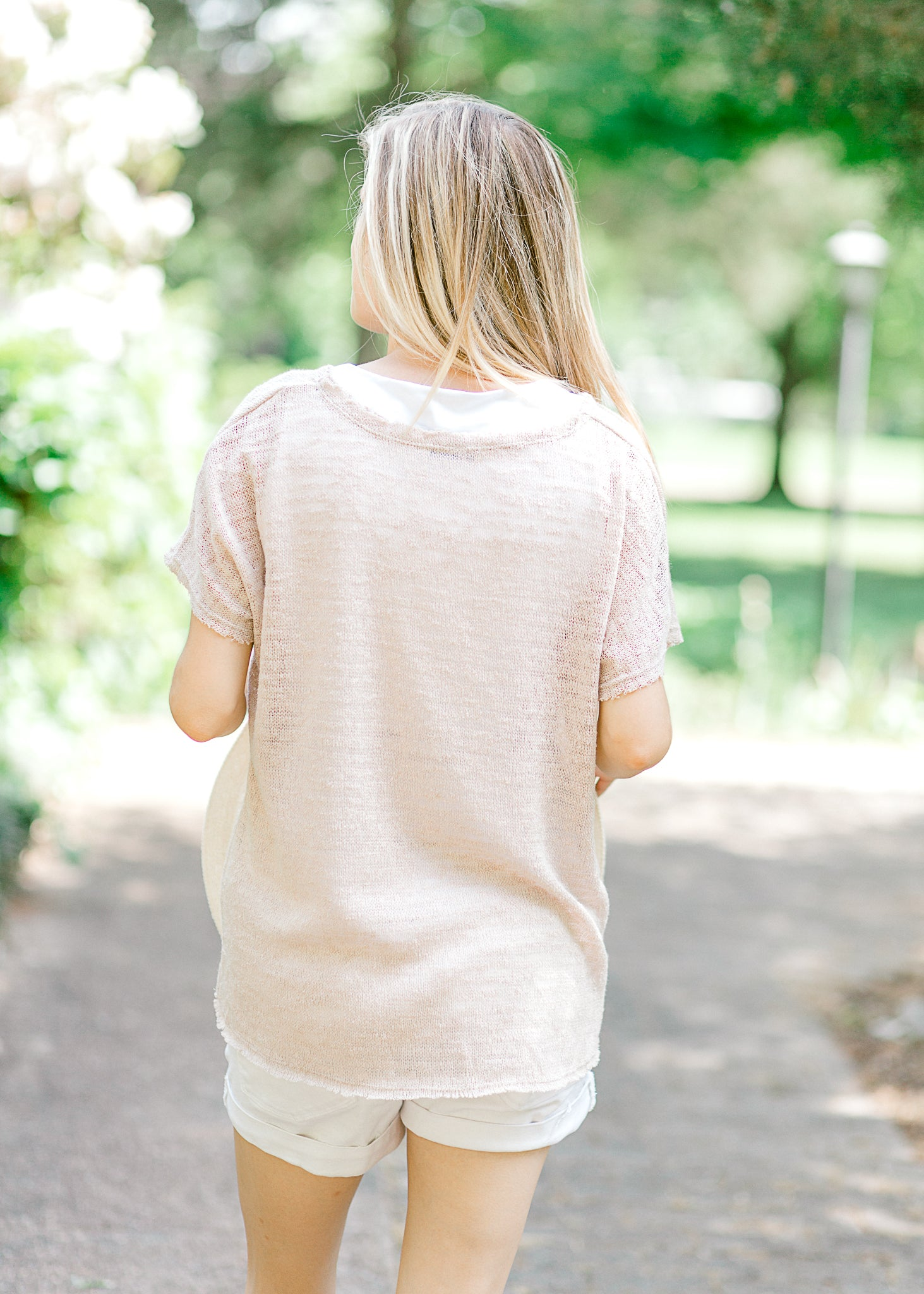 Starlight Short Sleeve Beige Sweater