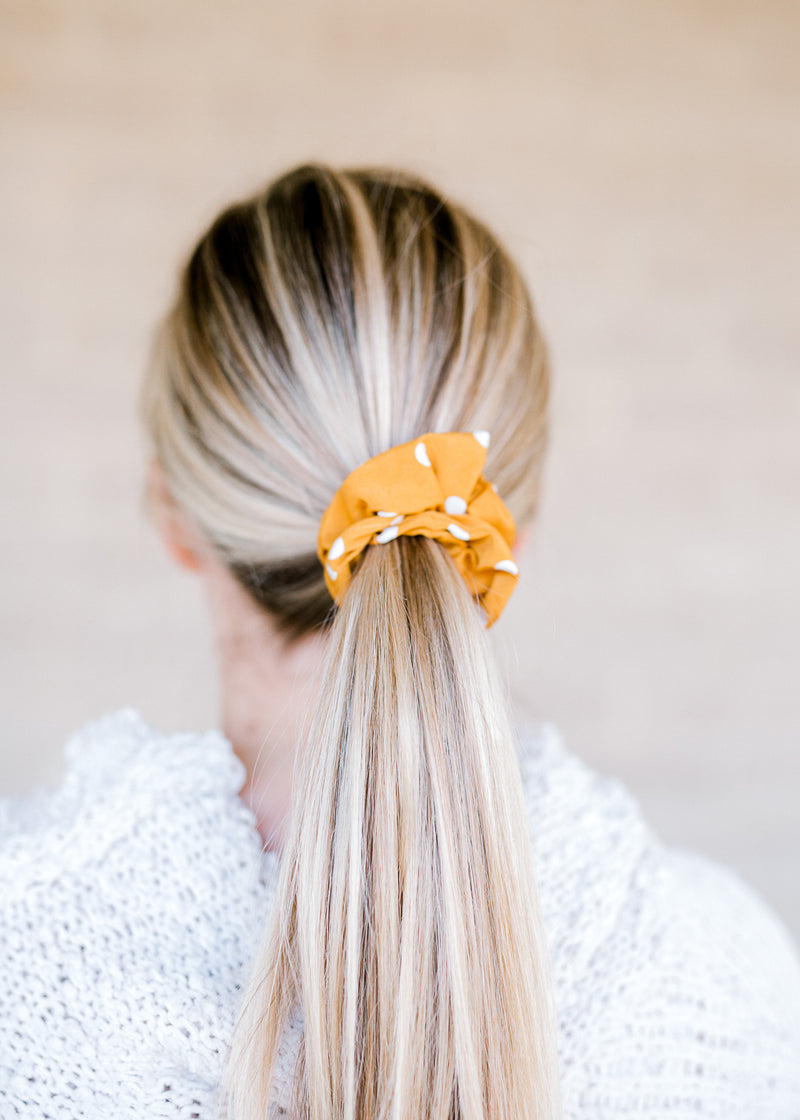 golden and white dot scrunchie - epiphany boutiques