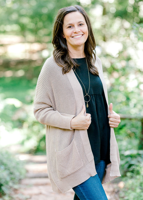 taupe cardigan - epiphany boutiques