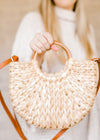 straw purse with wood handle - epiphany boutiques
