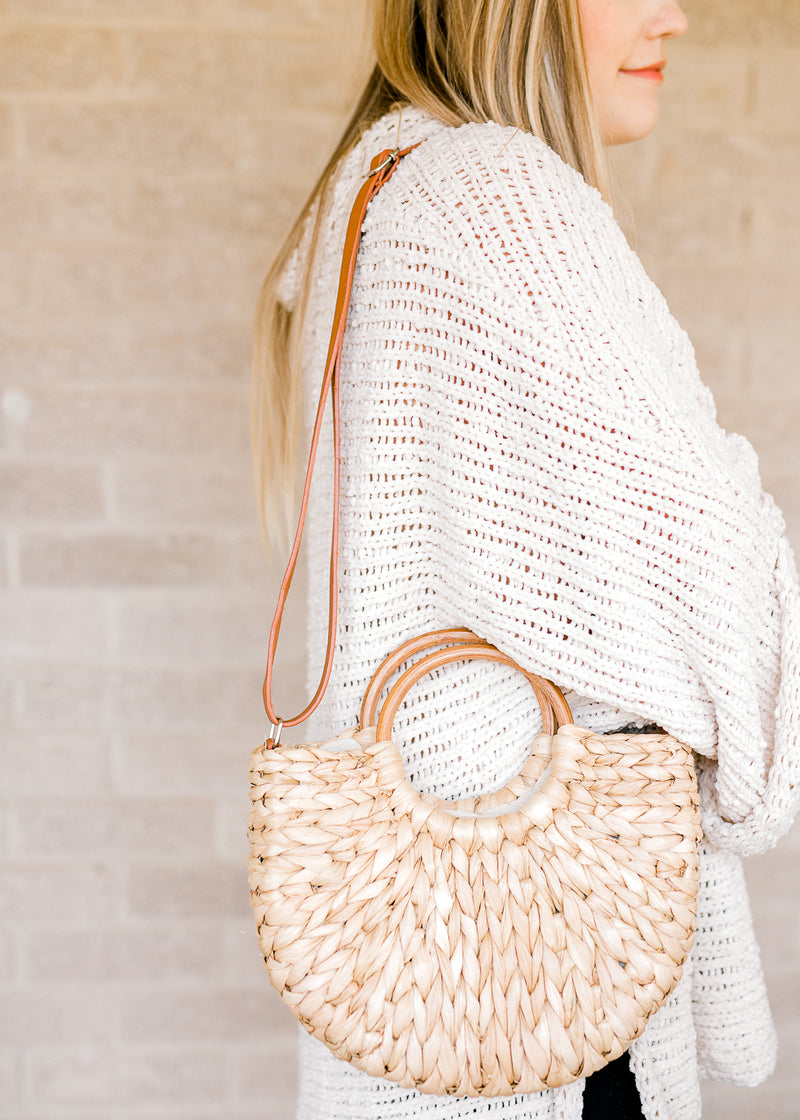 strap purse with straw material - epiphany boutiques