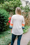 back view of cream waffle knit top - epiphany boutiques