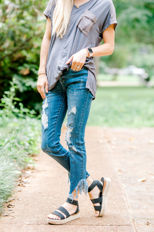 skinny jeans with distressing - epiphany boutiques