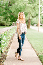 short sleeve striped button up top - epiphany boutiques