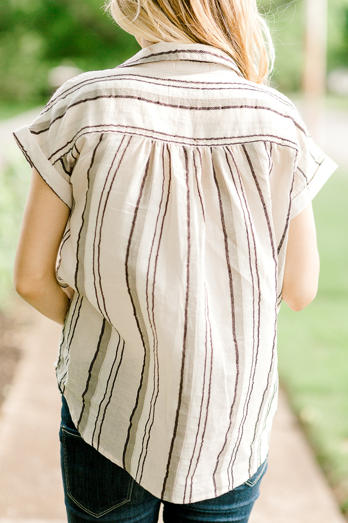 B Summer Harvest Striped Button Top