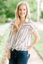 short sleeve striped top with front tie - epiphany boutiques