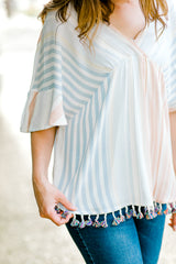 blue and coral top with tassels - epiphany boutiques