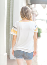 varsity striped tee back view - epiphany boutiques