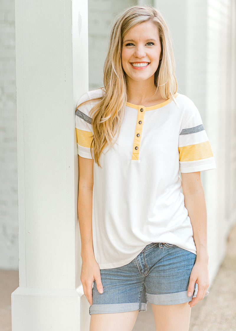 yellow, grey and white short sleeve tee - epiphany boutiques