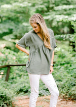 olive top with v neck cut - epiphany boutiques