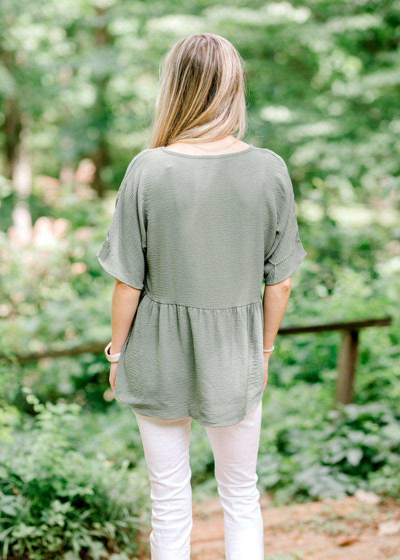 olive dolman top back view - epiphany boutiques