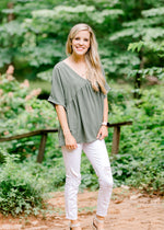 peplum top with v neck - epiphany boutiques